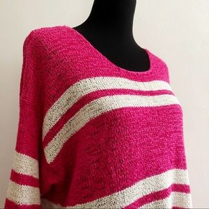 Oversized Bright Pink & White Striped Sweater